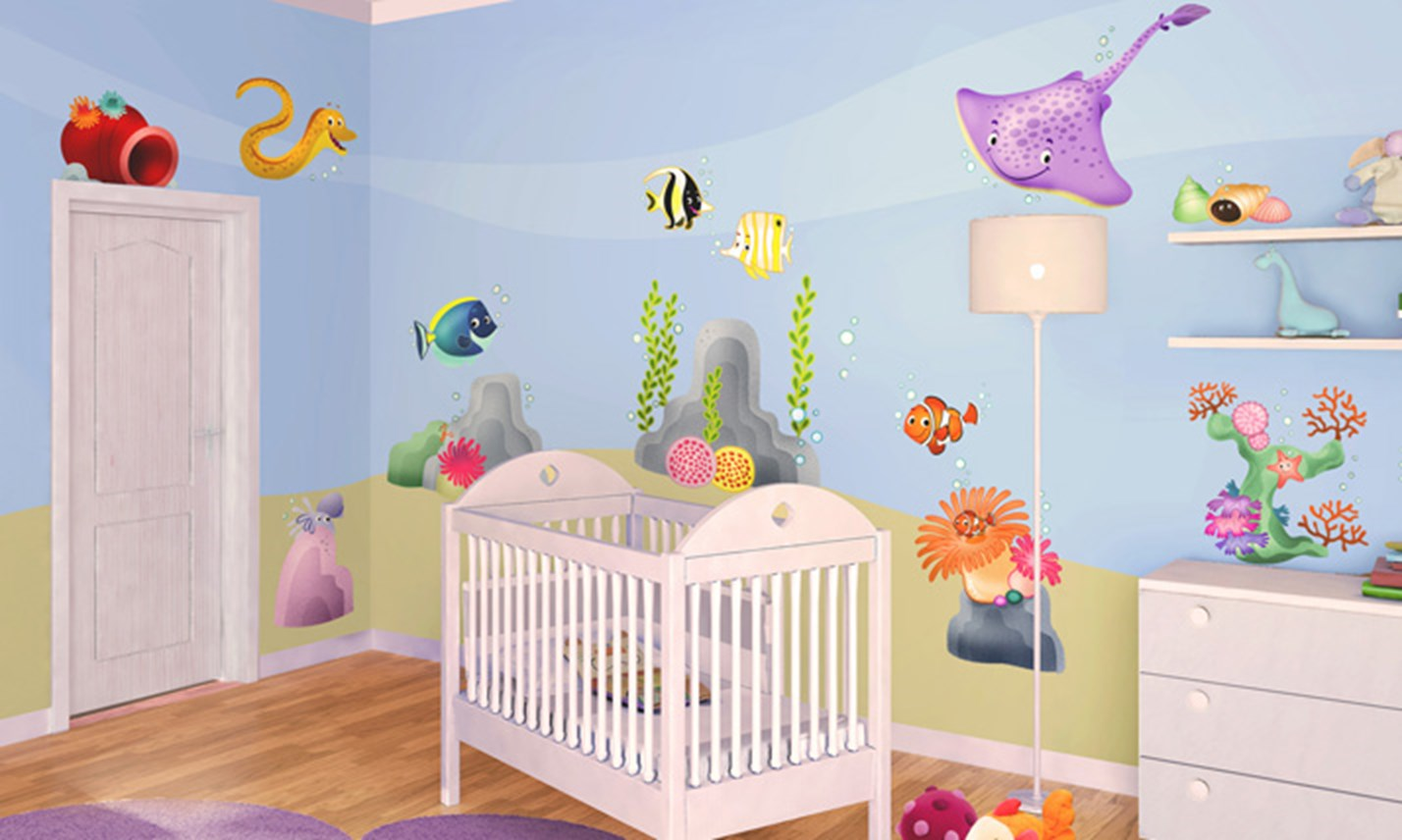 Stickers murali bambini cameretta barriera corallina - Decorazioni per camerette ...